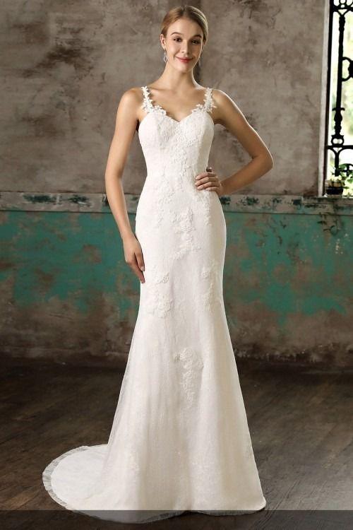 Elegant Lique Rhinestone Straps Sleeveless Mermaid Wedding Dresses Bride Brides Bridal Bridalhair Bridalmakeup Bridaljewelry Bridalwear