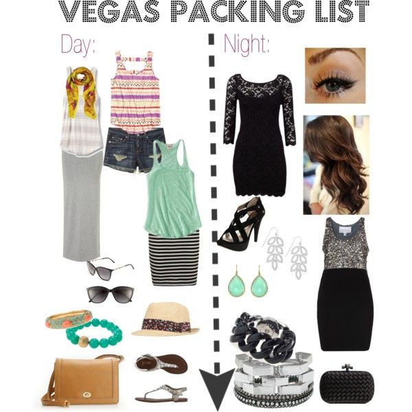 Vegas Packing List - Comfy day clothes for the pool or walking around, shoes that can go day to night, sequins and lace, and lots of accessories.