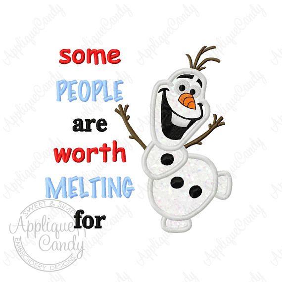 Frozen Snowman Applique 3 Machine Embroidery Design 4x4 5x5