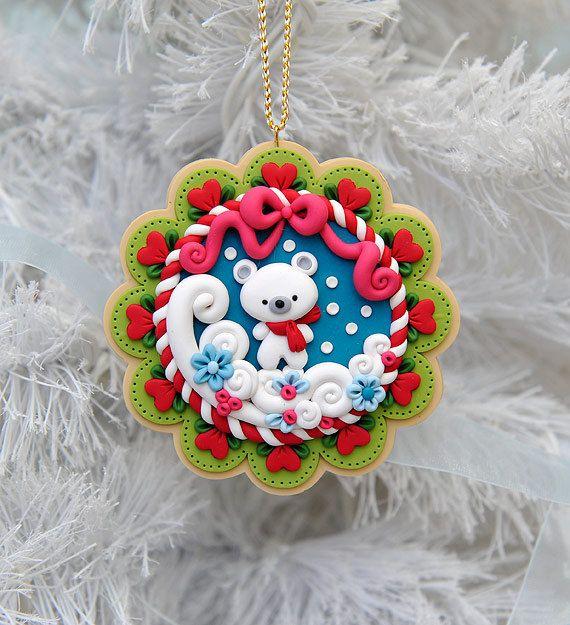 Handcrafted Polymer Clay Winter Polar Bear by MyJoyfulMoments