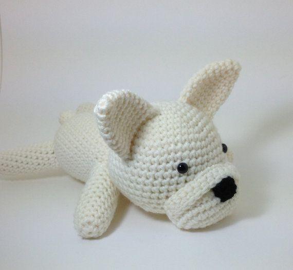 French Bulldog Stuffed Animal Amigurumi Puppy Crochet Dog Large Size Plush / Made to Order. $59.00, via Etsy.