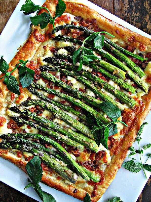 roasted asparagus, bacon + cheese tart.