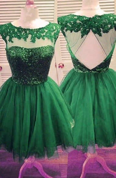 New Arrival Bateau Beaded Open Back Hunter Green Homecoming Dress