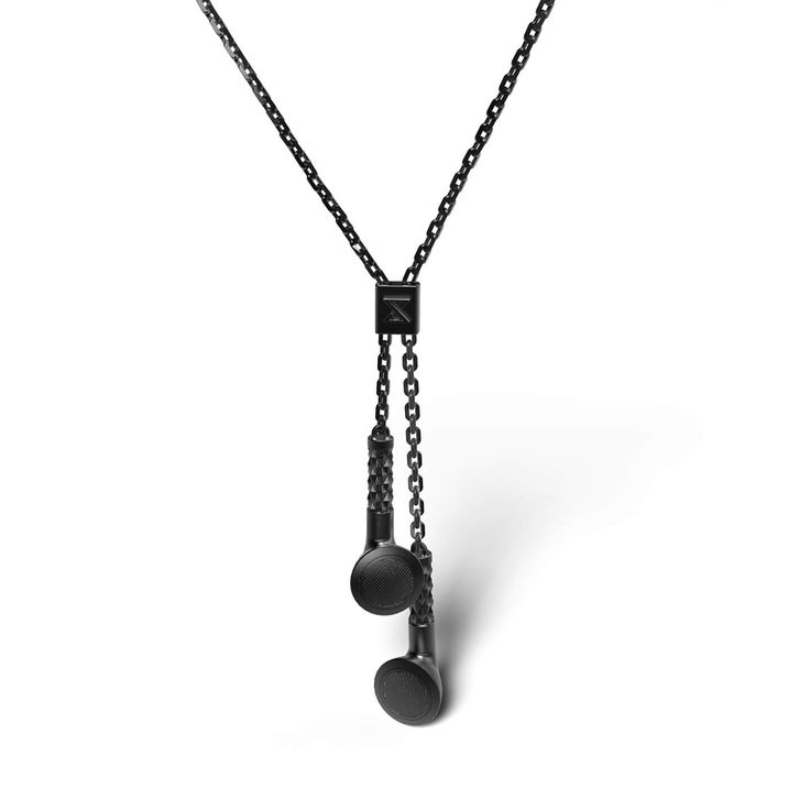 Earbud Necklace  BLACK RUTHENIUM