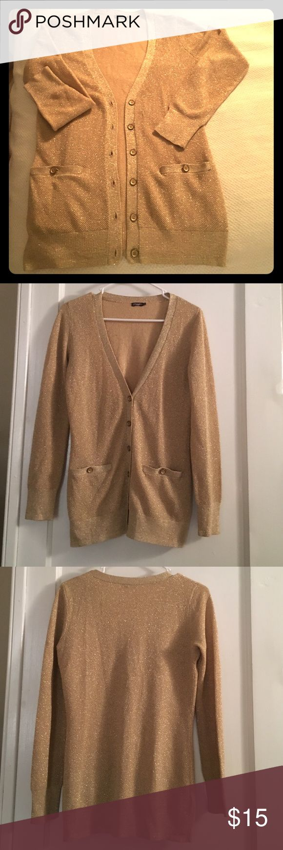 J.McLaughlin XS Gold Cardigan J.McLaughlin XS Gold Cardigan. Worn a handful of times. Great shape. 30% cotton, 30% modal, 26% polyester, 14% metallic J. McLaughlin Sweaters Cardigans