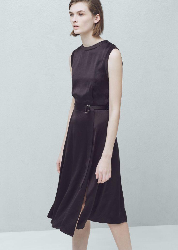 Φόρεμα γυαλιστερή ζώνη   MANGO ΜΑΝΓΚΟ
