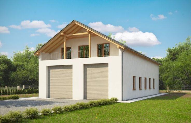 Projekt budynku mieszkalnego, parterowego, niepodpiwniczonego z poddaszem mieszkalnym, kuchnią, jadalnią, salonem, czterema pokojami, trzema łazienkami, garażem dwustanowiskowym, przeznaczonym dla samochodów ciężarowych, i antresolą.