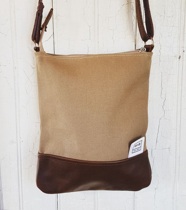 Cross Body Bag Canvas and Leather - Sand and Dark Brown - W & B