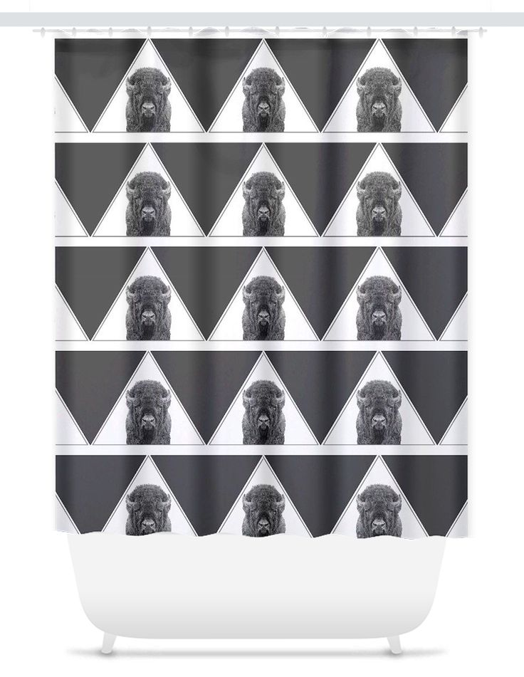 Geometric Bison Shower Curtain