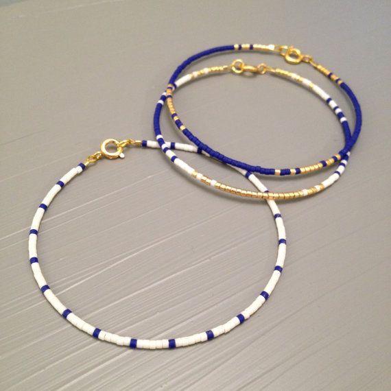 Best Bracelet Perles 2017/ 2018 : Nautical Bracelet Summer Bracelet white blue Beach Wedding jewelry