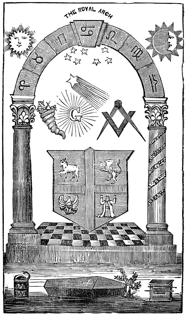 The first seven signs of the zodiac, in sequence, have been included. The significance of Cancer being placed in the keystone and the blazing star aiming at Taurus is unclear and certainly not indicative of mainstream masonic thought. The inclusion in the bottom left corner of what is perhaps intended to be the orphic egg, or simply a serpent in a basket is noteworthy, as is the cross on the coffin. Pubished in London, the position of the square and compasses is also noteworthy.