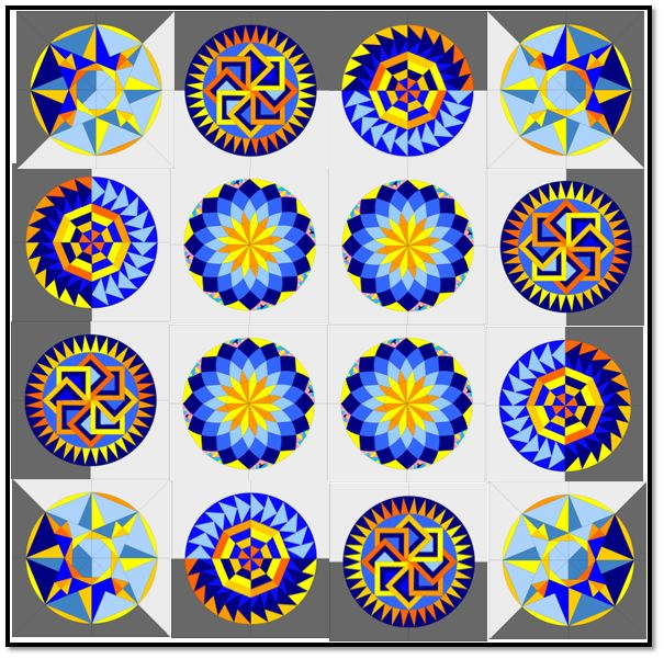 Of Clouds and Shadows! Round the Year Quilt – Layout Option One   betukbandi