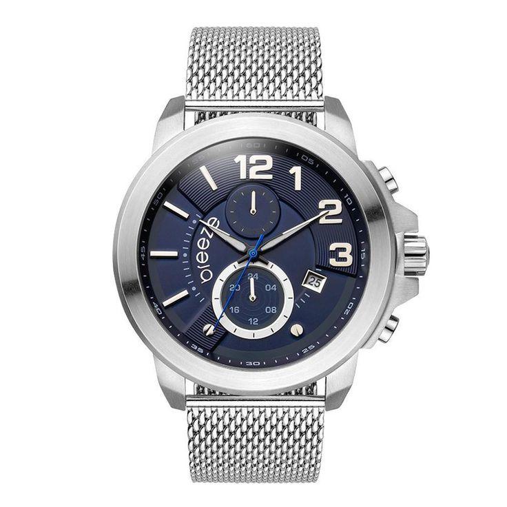 Ανδρικό μοντέρνο αδιάβροχo ρολόι BREEZE 610732.3 Hommage με μπλε καντράν και ατσάλινο μπρασελέ | Ρολόγια BREEZE ΤΣΑΛΔΑΡΗΣ στο Χαλάνδρι #breeze #hommage #μπλε #μπρασελε #tsaldaris