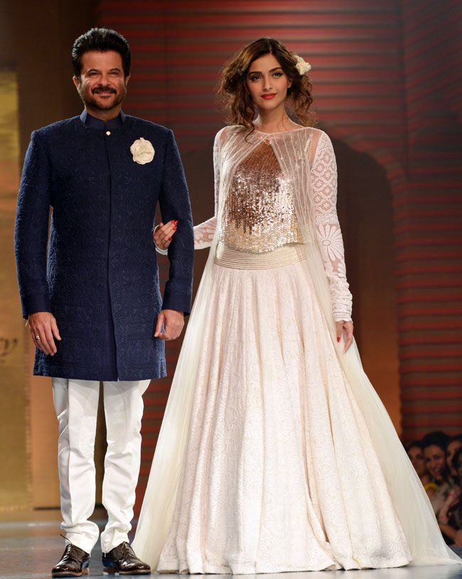"Anil Kapoor with daughter Sonam Kapoor on the runaway for ""mijwan"" fashion show"