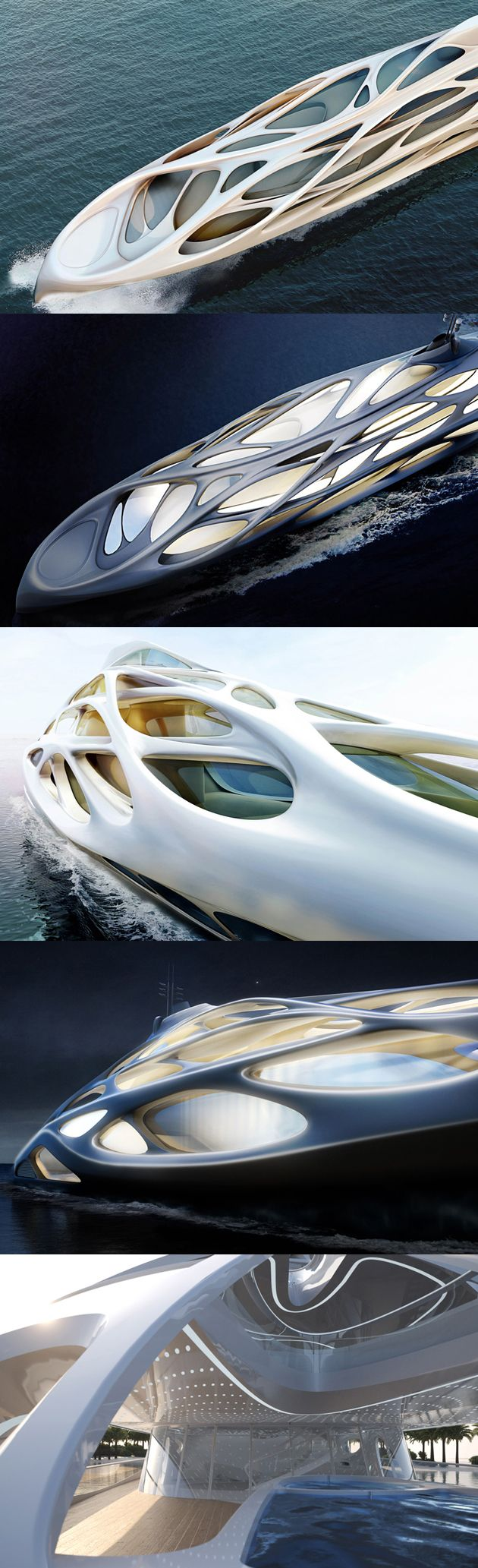 A perfect example of good architecture not in a building:: Zaha Hadid Designs a Superyacht for shipbuilding company Blohm+Voss, reaching 128 meters in length, and a supporting structure resembling the organic ecosystem below. The form appears dynamic, resembling the flow of water. Paired with the clear, clean, and white coated aesthetics, this yacht fits right in with the water in which it glides across. More