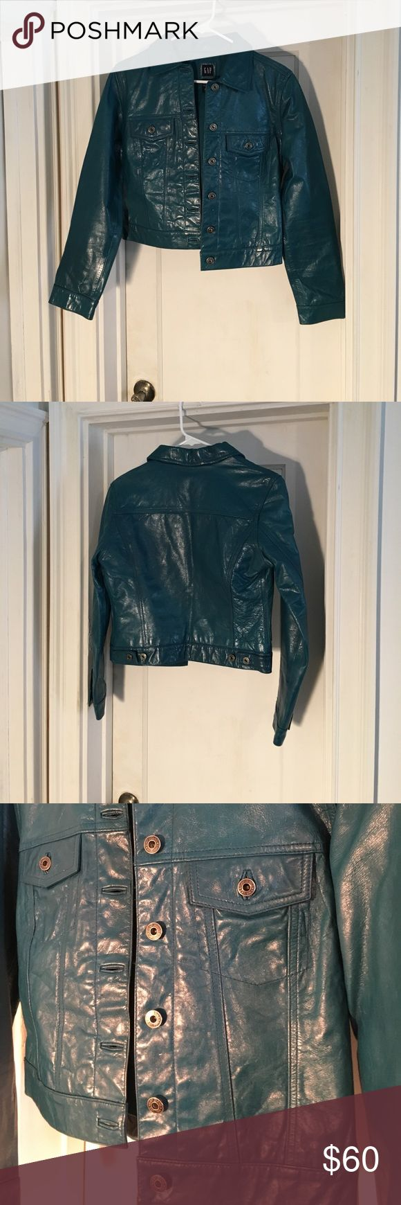 New Gap blue leather bomber jacket size S Beautiful deep blue/green bomber jacket by Gap. Never worn . Perfect new condition. . Great color! GAP Jackets & Coats Utility Jackets