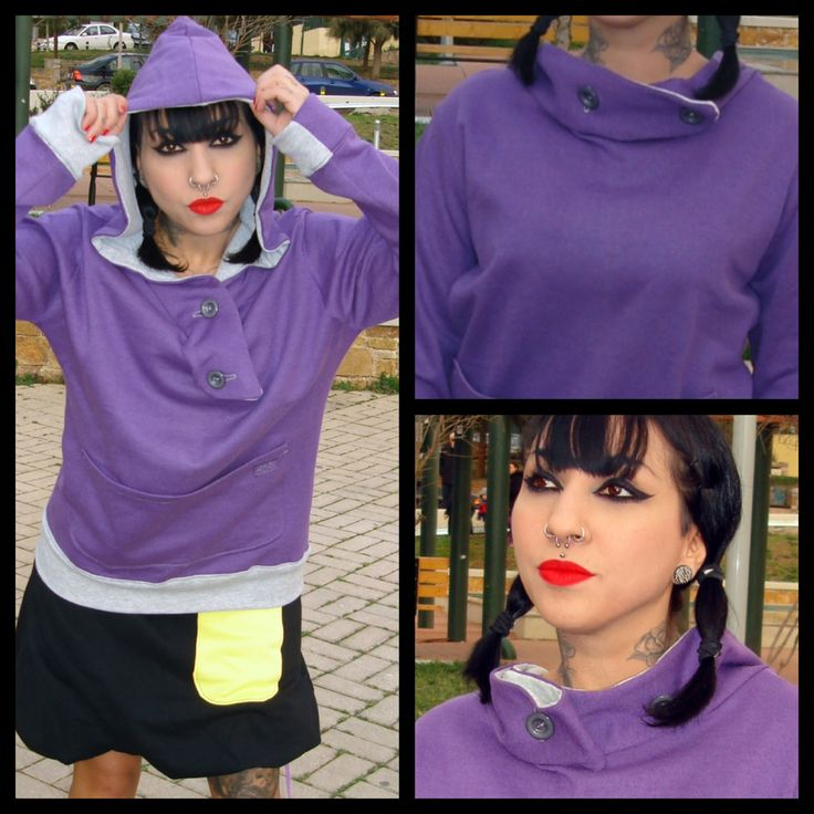 Funky polymorphic hoodie with buttons