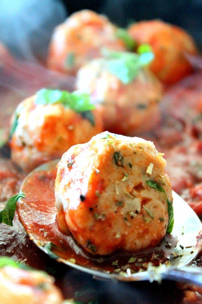 Italian inspired Turkey Meatballs in a spicy tomato basil sauce with creamy Burrata cheese