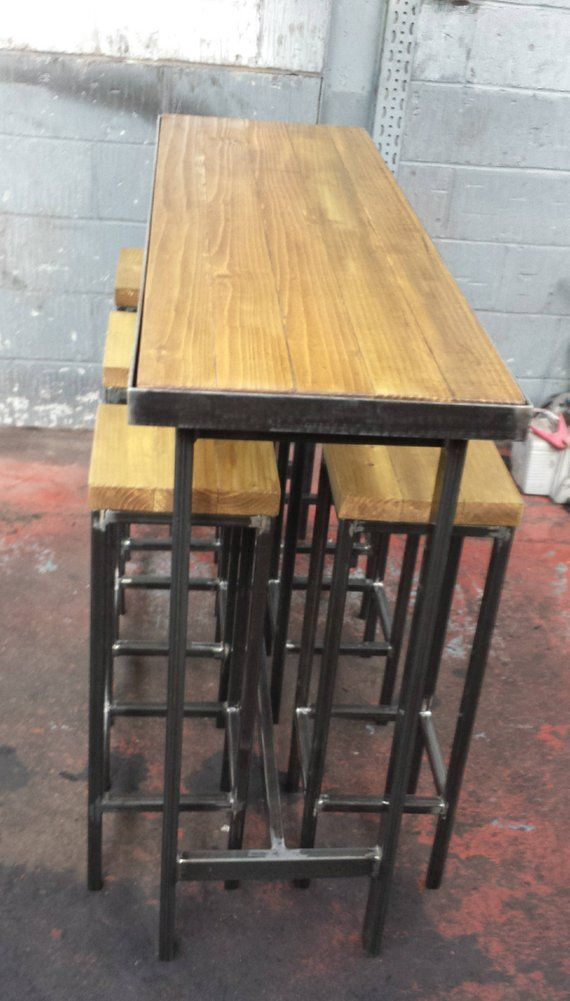 Handmade Bespoke Outdoor Indoor Modern Industrial Long Narrow Cafe Chairs And Tables Metal Outdoor Table Wood Bar Table
