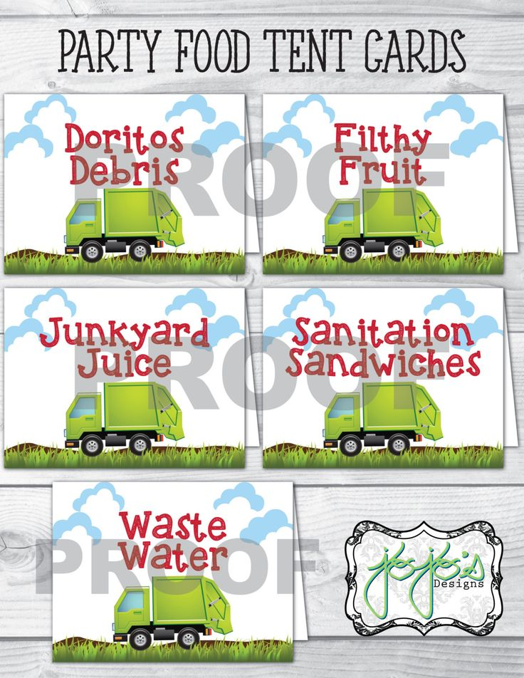 Garbage Truck Birthday Party Food Label Tent Cards (Digital Files) by jojosdesigns on Etsy