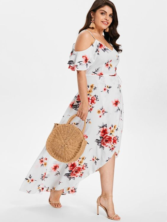 c2cf81b94a49 Plus Size Cold Shoulder Floral Maxi Flowing Dress , Hot dress #fall dresses  to wear to a wedding #formal dresses short #tanktop dress outfit #crotchet  dress ...