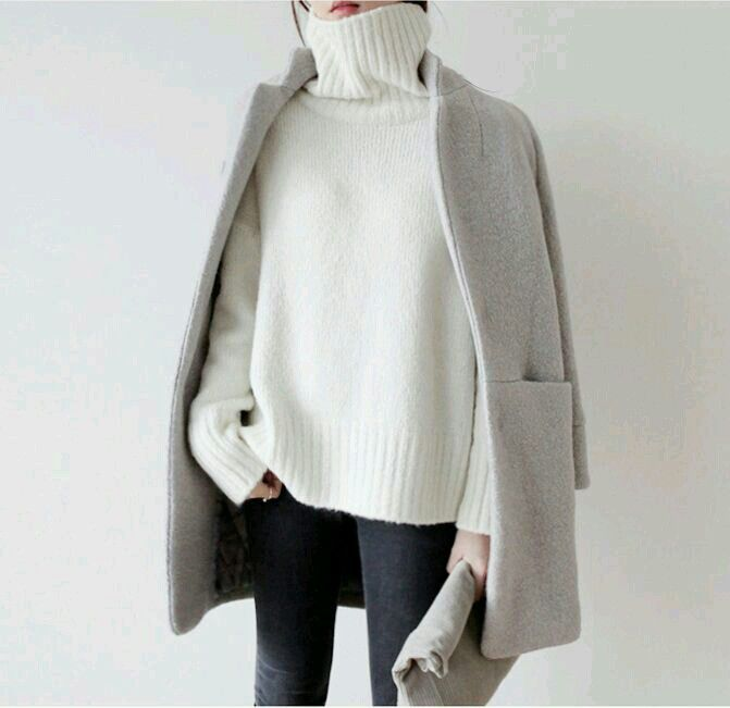 winter white sweater, cool gray jacket