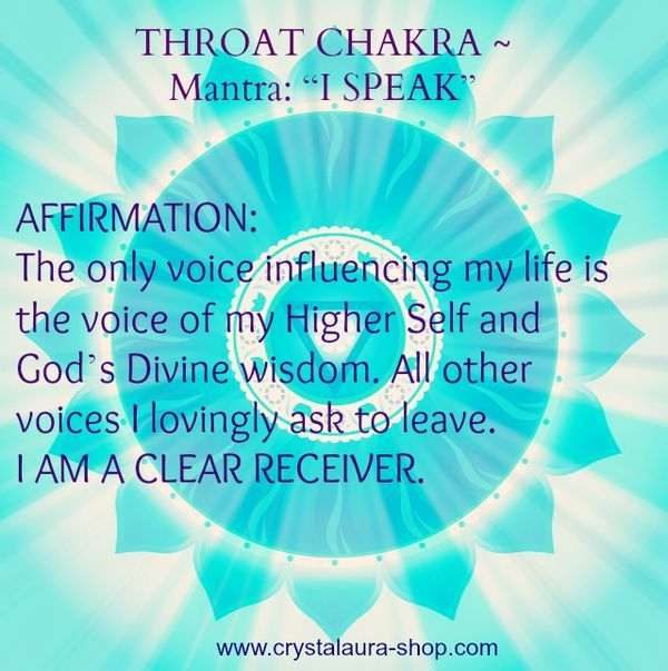 Throat Chakra Mantra: I speak.. balancedwomensblog.com