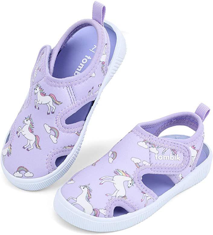 FANTURE Toddler Water Shoes Boys Girls Sandal Cute Aquatic Beach Swim Pool Water Park Aqua Sneakers Toddler /& Little Kid