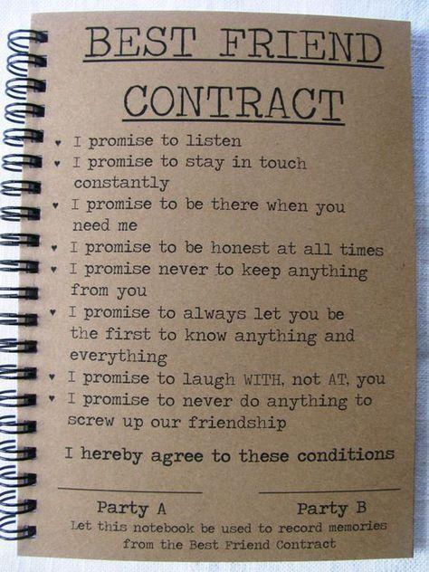 Best Friend Contract 5 x 7 journal Friends journal