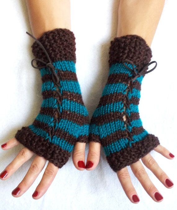 Knit Fingerless Corset Gloves Dark Brown Teal  Wrist by LaimaShop