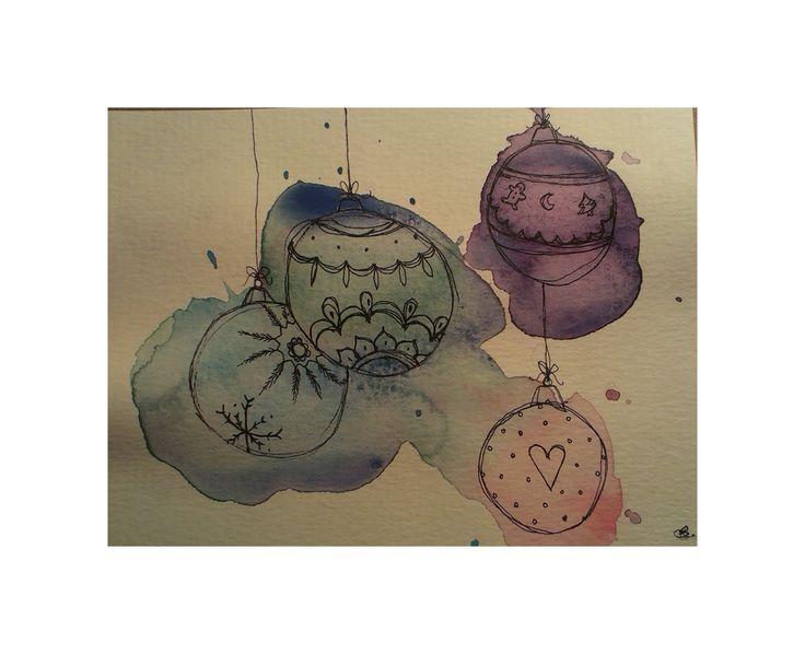 Christmas postcard  #aquarel #ink