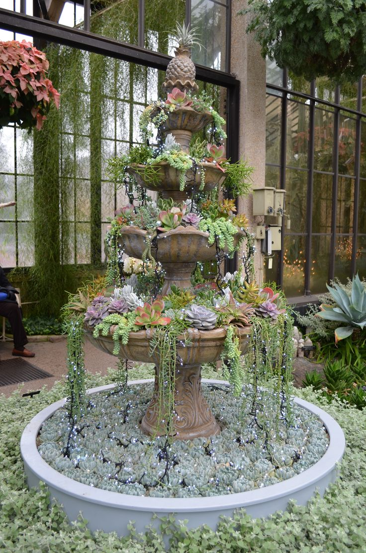 "Check out this fabulous succulent ""fountain"" spotted during our recent trip to Longwood Gardens! We are sensing some great DIY inspiration!"