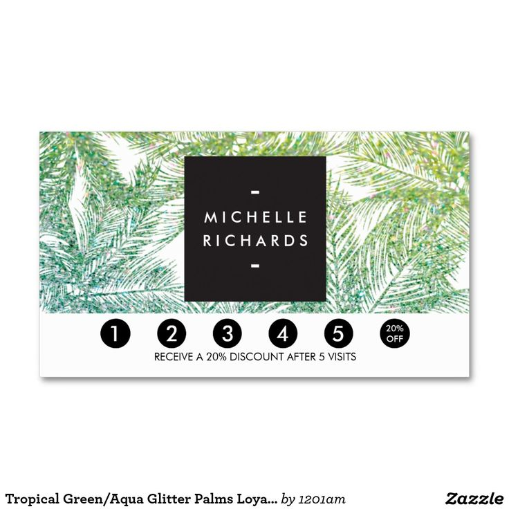Tropical Green/Aqua Glitter Palms Loyalty Card Punch Card for Spray Tanning Salons, Mobile Spray Tanning, Beauty Salons and more. Great for driving customer loyalty! Personalize with your own promotion.