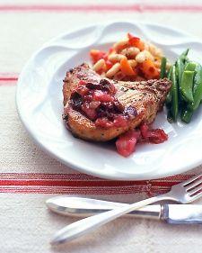 Pork Chops with Rhubarb-Cherry Sauce