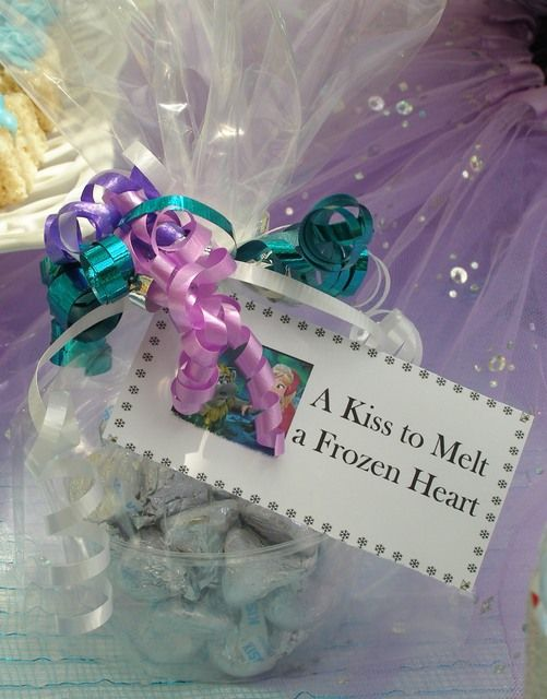 Kiss favors at a Frozen Disney Princess Birthday Party! See more party ideas at CatchMyParty.com!