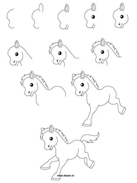 Drawing sweet foal in steps
