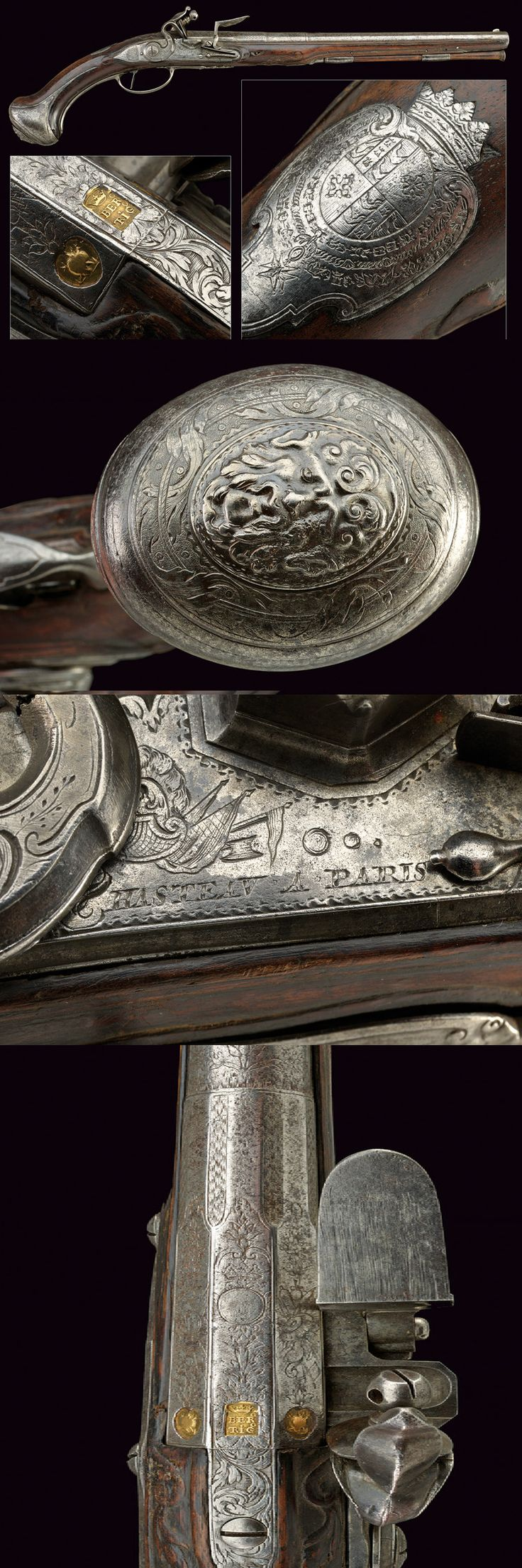 An important flintlock pistol from the property of a French Prince.   provenance:	 	Paris dating:	 	first quarter of the 18th Century.