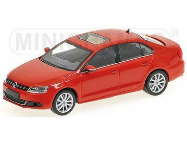 The Volkswagen Jetta 2010 Red is a diecast model in 1/43 scale and is part of the Minichamps Road Car Collection.