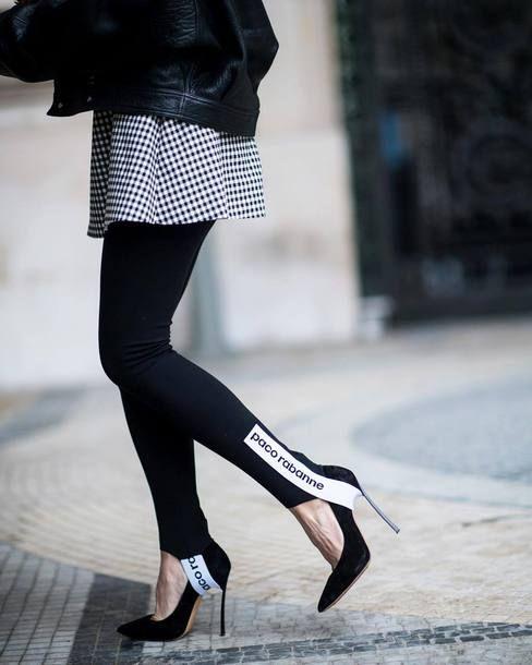 Leggings: black heels tumblr black stirrup pants pumps pointed toe pumps high heel pumps jacket