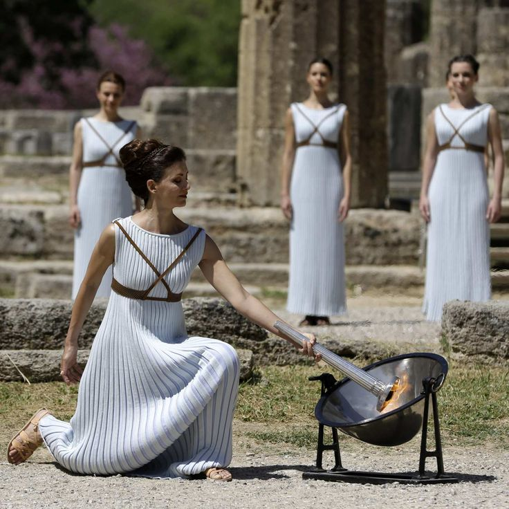 An Actual Goddess Lit the Olympic Torch in Greece Today