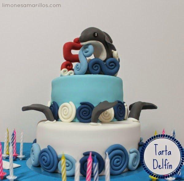 Tarta delfines - fondant Fondant dolphin cake