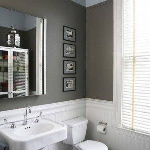 Image Of White Beadboard Wainscoting In Bathroom With Grey Wall Colors And One Piece Toilet And Pedestal Sink