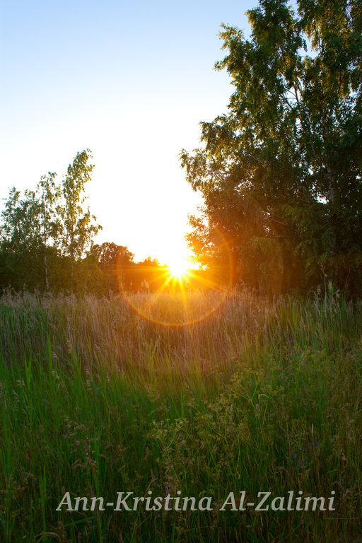 by Ann-Kristina Al-Zalimi, sundown, sun, summer, finland, skandinavia, midsummer, juhannus, fine art photography, tullarns äng