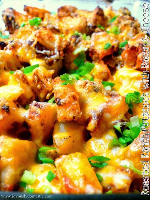 Recipe For Roasted Ranch Potatoes with Bacon and Cheese - My hubby admits he could eat it everyday. My kiddos love it. And, I do, too!