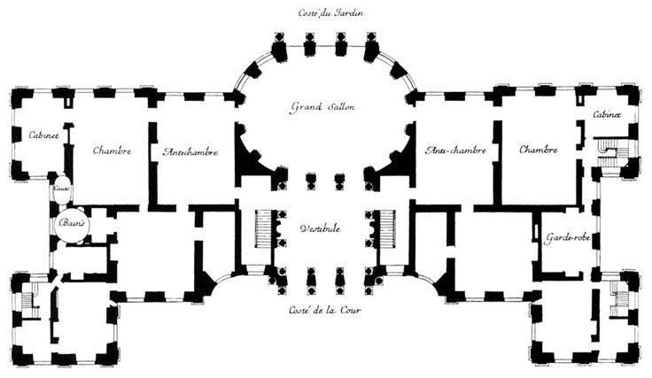 Charles le Brun, Louis le Vau pałac Vaux le Vicomte plan