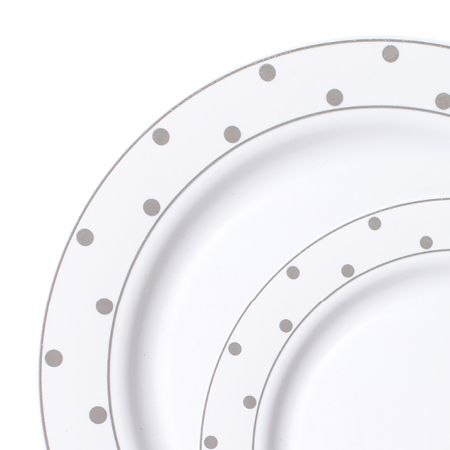 dots white silver plastic dinnerware value pack