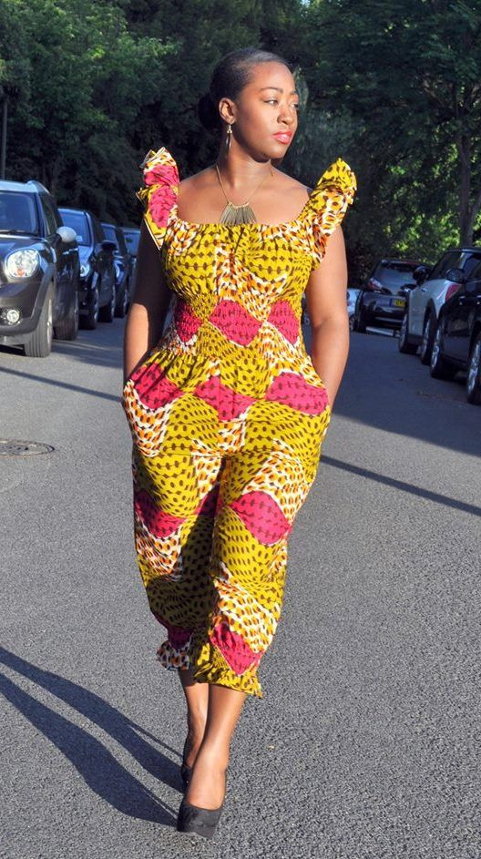 African print jumpsuit with ruffle sleeves. by HouseofAfrika