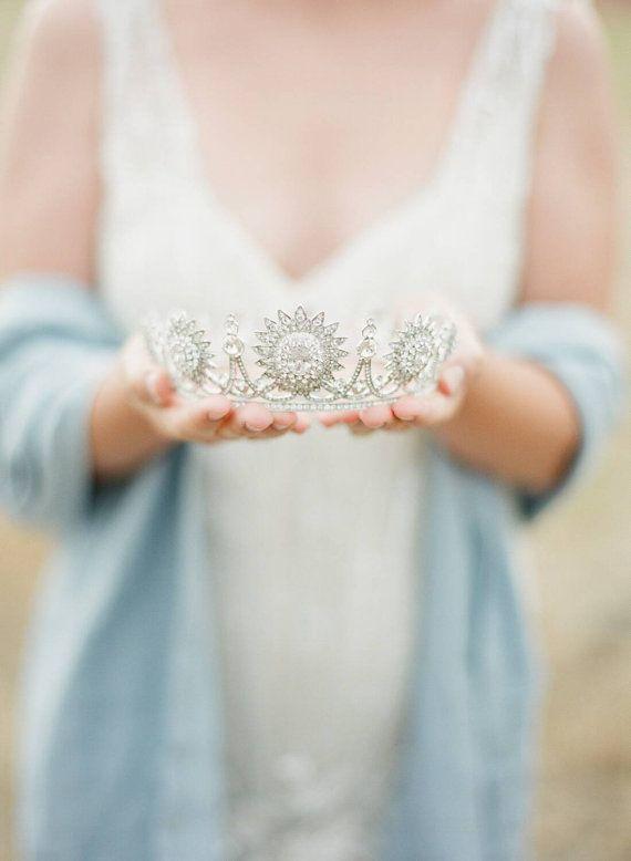 Full Bridal Crown, Swarovski Crystal Wedding Crown, BRIANNE, Floral Silver Bridal Diadem, Crystal Wedding Tiara, Diamante Tiara,Bridal Tiara