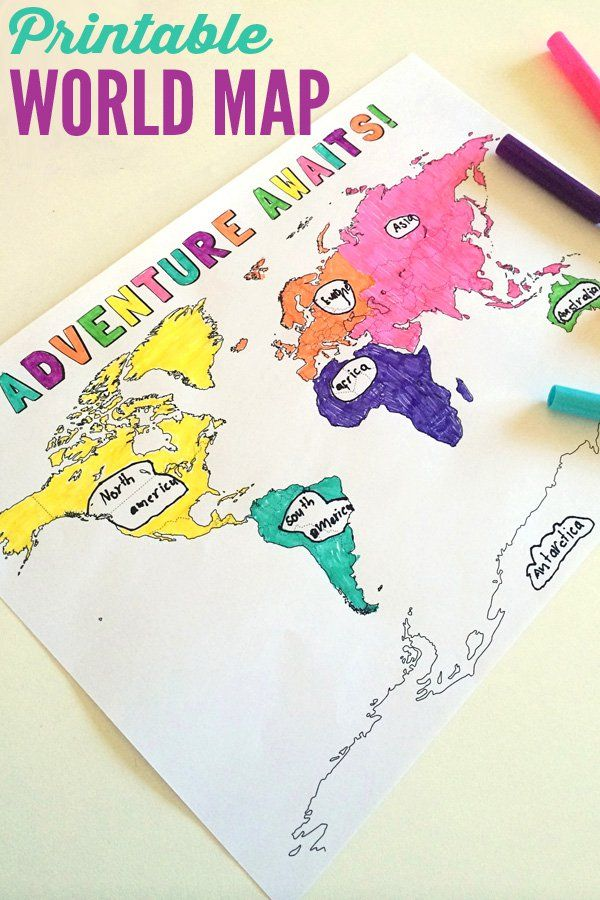 Printable World Map & Video of 7 Continents song | 7 Geography Resources for Children | Childhood101