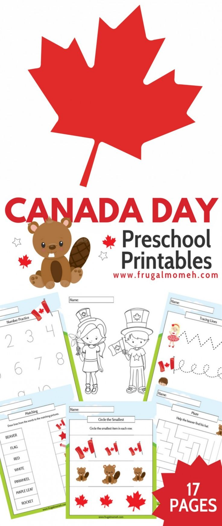 17 Fun Pages of printable Canada Day themed worksheets (for Pre-Kindergarten to Grade 1 aged kids!) You are going to love this Free Printable Canada Day Preschool Activity Book for kids.